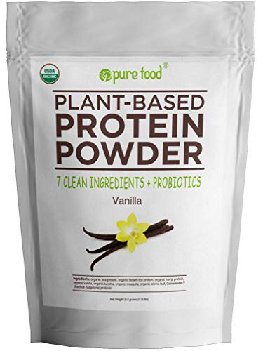 Pure Food: The Healthiest Plant Based Protein Powder with Probiotics | Organic, All Natural, Vegan Whole Food Ingredients | Keto/Paleo-friendly, Gluten, Dairy, Soy Free | Vanilla Bean, 512 Gram Bag