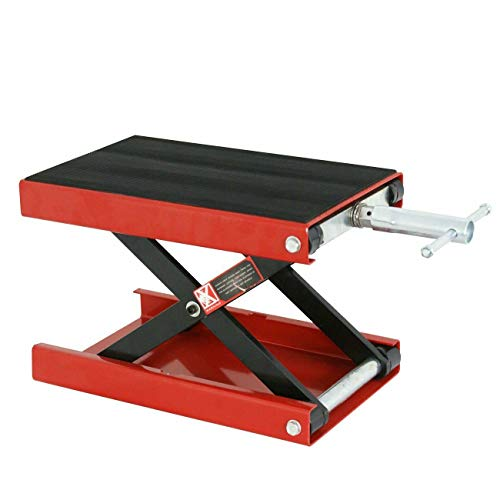 AVGDeals 1100 LB Red Motorcycle Scooter Crank Stand Mini Scissor Lift Jack ATV Dirt Bike | Solid Structure, can be Used Alone or with Almost Any Motorcycle Lift