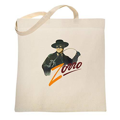 Zorro Tyrone Power Retro Halloween Costume Comics Western Apparel Movie TV Natural 15x15 inches Canvas Tote Bag 15x15 -