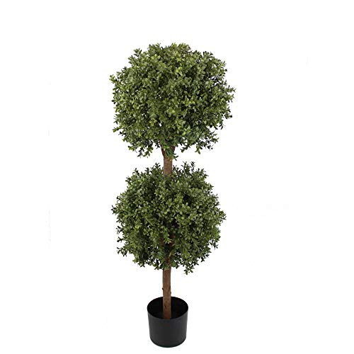 (UNIQUE FOREST ARTS 4' Double Ball Boxwood Topiary in Plastic Pot Topiary Plant, Topiary Tree,Artificial Tree,mat Green/Two-Tone (Size:48