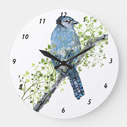 Moonluna Blue Jay Wall Clock Non Ticking Decorative Wooden Clock Battery Operated for Bedroom 10 inches Blue Jays Wall Clock