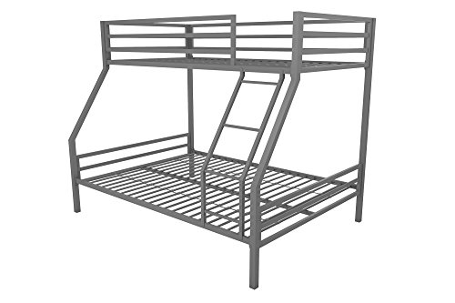 Bunk Bed - Novogratz Maxwell Twin/Full Metal Bunk Bed, Sturdy Metal Frame with Ladder and Safety Rails, Grey