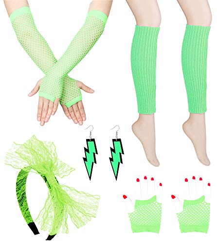 FIBO STEEL Women's 80s Outfit Costume Accessories for Women Girls Neon Earrings Fishnet Gloves Leg Warmers Sets Green ()