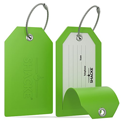- Shacke Luggage Tags with Full Back Privacy Cover w/Steel Loops - Set of 2 (Green)