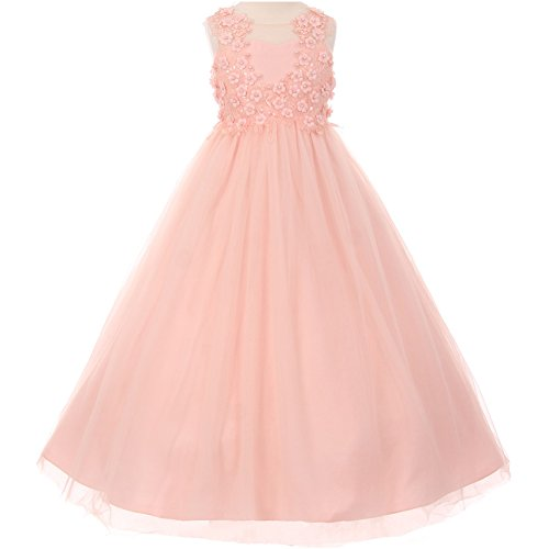 Big Girls Illusion Flower Hand Beaded Lace and Soft Tulle A-Line Sleeveeless Girl Dress Blush - Size 10 by CrunchyCucumber