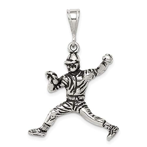(Jewelry Pendants & Charms Themed Charms Sterling Silver Antiqued Baseball Player Charm)
