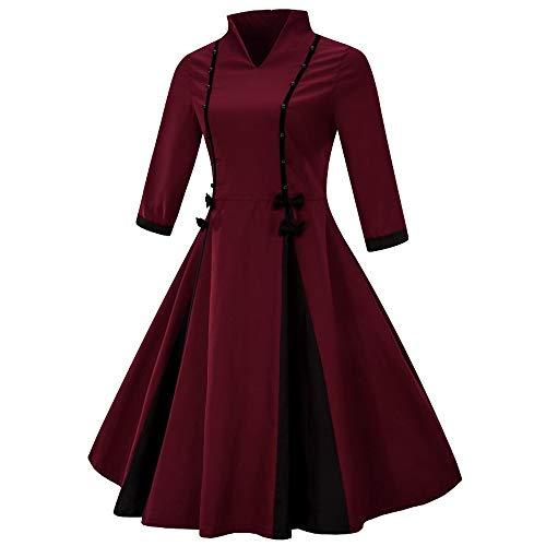 HYIRI Women Shirt Dress Short Sleeve, Fashion Lace Patchwork Crewneck Pleat Swing Blouse Tops Sweatshirt ()