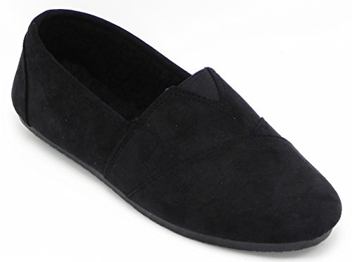 Womens Multi Color Moccasin Ballet Flats Slip on Loafers Sneaker Plimsoll Boot Shoes Black-1 IOT1OTIhhJ