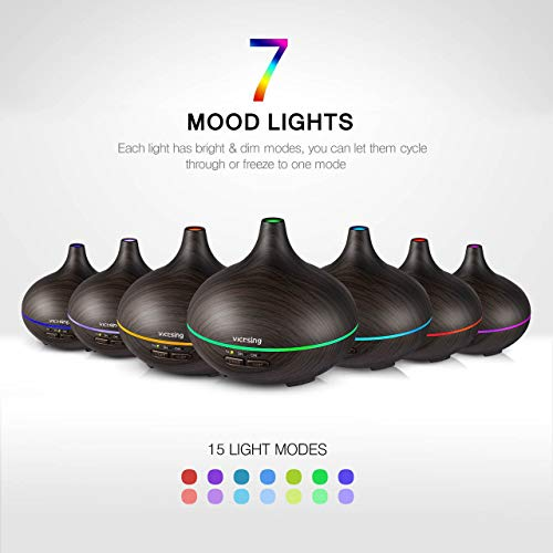VicTsing Essential Oil Diffuser, 150ml Mini Aroma Wood Grain Cool Mist Humidifier for Office Home Study Yoga Spa Baby, Auto Shut-Off and 14 Color Night Lights (Dark Brown)