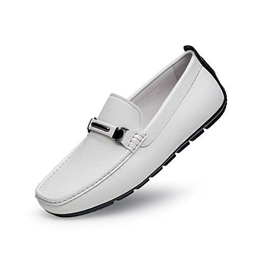 ZRO Men's Casual Fashion Driving Loafers Flats Boat shoes White US 9.5 by ZRO (Image #10)