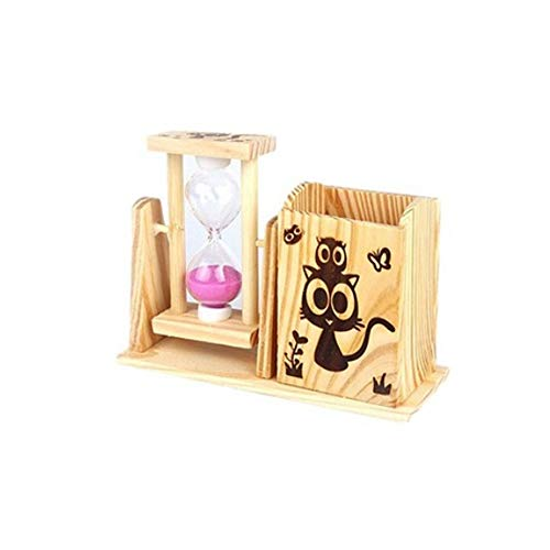 Jingfengtongxun Pen Holder, Wooden Creative Fashion Desktop Hourglass Pen Holder, Small Fresh and Lovely Retro Student Hourglass Pen Holder Storage Box, Style A Stylish Simplicity