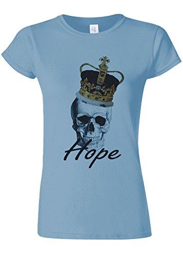 瞑想的絶えず溶岩King Skull Hope Dope Funny Novelty Light Blue Women T Shirt Top-L