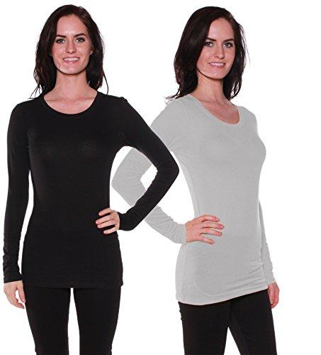 Active Basic Athletic Fitted Plain Long Sleeves Round Crew Neck T Shirt 2PK - Northwest Black Shirt