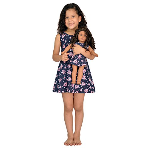 Girl and Doll Matching Dress Clothes Fits American Girl Dolls & 18 inches Dolls (6, Blue) American Doll Outfits