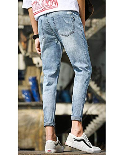 Dritto Jeans T Retrò Buco En Da A Denim Hellblau Uomo In Pantaloni Conici Semplice Slim Con Taglio Strappati Lanceyy Stile zq1gfq