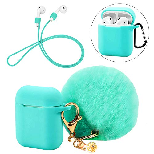 Silicone Hang Case Cover with Locking Carabiner and Fur Ball Keychain Compatible with Airpod Charging Case - Anti-dust Shockproof Silicone Shell Headphone Accessories (Turquoise)