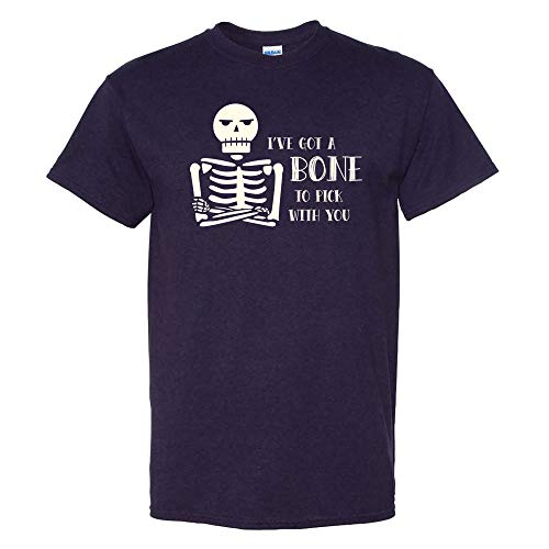 UGP Campus Apparel I've Got a Bone to Pick with You - Funny Skeleton Halloween T Shirt - Medium - BlackBerry