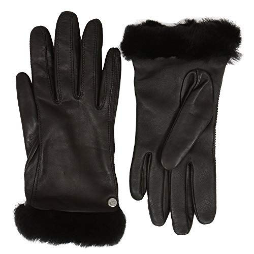(UGG Women's Classic Leather Shorty Tech Gloves Black 1 MD)