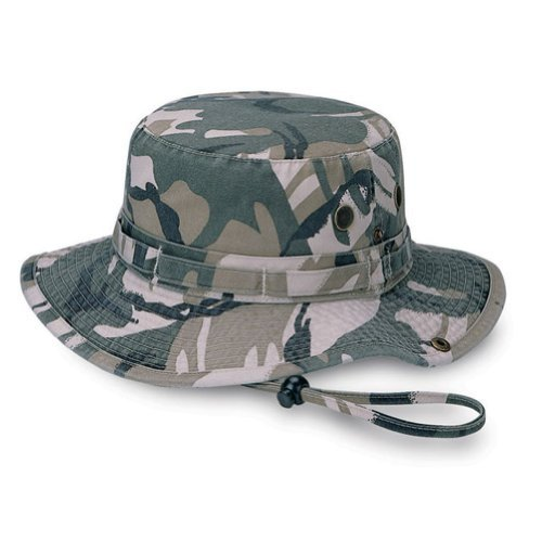 Camo Twill Washed Hunting Hat w/ Cord- Safari, Large