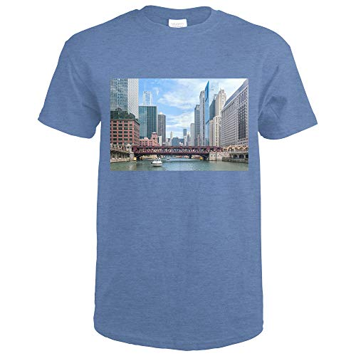 Chicago River Boat Tour Scene Photography A-90296 90296 (Heather Royal T-Shirt XX-Large) (Best Chicago River Cruise Architecture)
