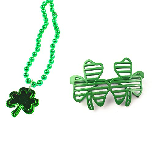 Shamrock Necklace Glasses, Green Metallic Beaded Necklace Pendant & Fun Shamrock Shutter Slotted Glasses Lensless Glasses Photo Props 2Pcs for St Patricks Day Outfit Irish Festival Party Accessories