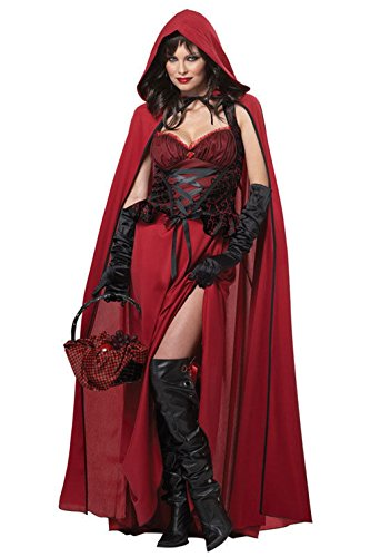 Mememall Fashion Sexy Dark Red Riding Hood Gothic Storybook Adult Halloween Costume (Jackie Moon Halloween Costume)