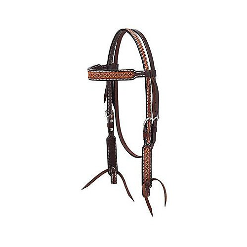 Weaver Leather Turq Cross Toold Browband Headstall