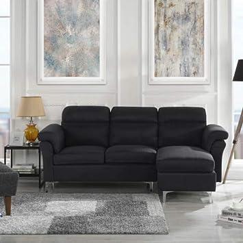 Amazoncom Casa Andrea Milano Modern Linen Fabric Sectional Sofa - Black-dining-table-andrea-by-casamilano