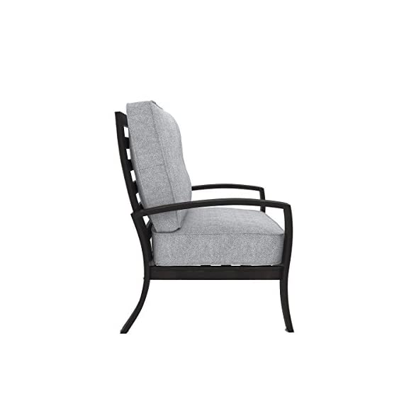 Ashley Furniture Signature Design - Castle Island Outdoor Lounge Chair with Cushion - Rust-Proof - Dark Brown & Gray - OUTDOOR LOUNGE CHAIR: Bring modern appeal to your deck with this clean-lined beauty. Whether you use it to sunbathe or have as table seating, it's an always-trendy addition to your decor DURABLE DESIGN: Made with an all-weather, rust proof aluminum frame. Zippered cushions are covered in high-performing Nuvella polyester with Velcro ties CONTEMPORARY STYLE: The thick, plush light gray cushions are full of texture and easy-breezy style. Go ahead—relax and enjoy the modern design - patio-furniture, patio-chairs, patio - 41o9i8UgGFL. SS570  -