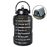 BuildLife 1 Gallon Water Bottle with Starw & Motivational Time Marker Large BPA Free Wide Mouth with Handle Reusable Leakproof to Drink More Water Daily