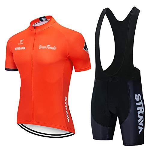 Mens Summer Cycling Short Sleeve Top and Gel Bib Shorts Set, Cycling Jersey Kits Breathable MTB Clothing Suits