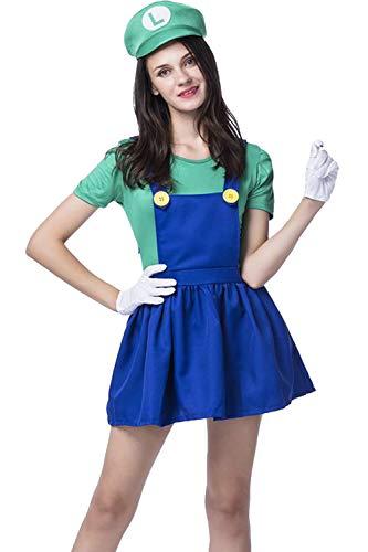 (Vosujotis Women Halloween Costume Super Mario Cute Cosplay Cartoon Suits Green)