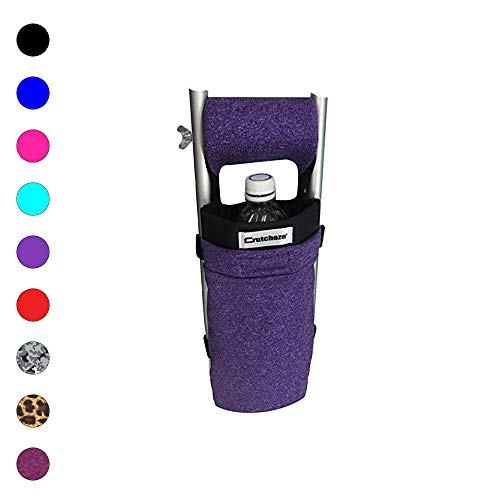 Crutcheze USA Made Premium Crutch Bag, Pouch, Pocket, Tote Washable Orthopedic Products Accessories for Underarm Crutches (Purple Heather) (Best Way To Pad Crutches)