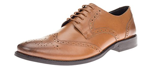 Gino Valentino Mens Robe En Cuir Chaussures À Lacets Tyson Wingtip Oxford Tan