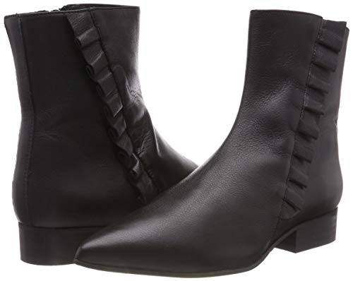 Frills Black Ankle Boots B Leather Selected Slfalexia Black black Women's Uqw0fft