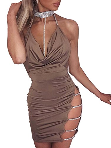 Neck Cut Out Dress (USGreatgorgeous Woman Sexy Sequins Chocker Halter Ladder Cutout Open Back Side Hollow Bodycon Mini Dress (Khaki, L))