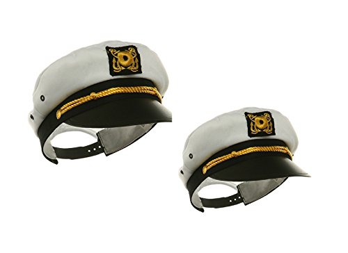 Gilligan's Island Captain Costume (Adult Child Mens Womens Ship Navy Officer Yacht Sea Skipper Captain Hat Cap Set)