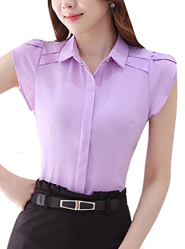 YLnini Women Ruffles OL Business Plus size blouse Top Shirt Purple (Poplin Ruffle Blouse)