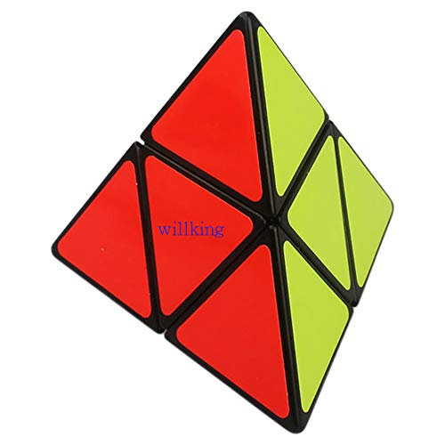 willking Pyramorphix 2x2 Pyramid Cube Puzzle Pyraminx Speed Magic Cube Triangle Twit Toy (Black)