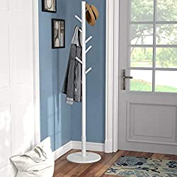 Vlush Wooden Coat Rack Free Standing, Coat Hat Tree Coat Hanger Holder Stand with Round Base for Clothes,Scarves,Handbags,Umbrella-(8 Hooks,White)