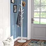 Vlush Wooden Coat Rack Free Standing, Coat Hat Tree Coat Hanger Holder Stand with Round Base for Clothes,Scarves,Handbags,Umbrella-(8 Hooks, Ivory White)