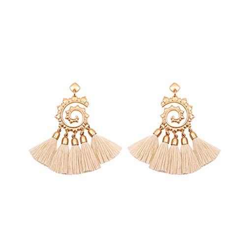 (Tassel Earrings Vintage Bohemian Metal Sun Flower Pendant Earrings Ladies Jewelry )
