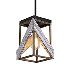 Farmhouse Ceiling Light Fixtures Modern Farmhouse Wood Pendant Light with Metal and Wood Cage, One-Light Adjustable Rods Rustic Mini Pendant Lighting… farmhouse ceiling light fixtures