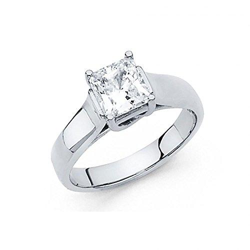 American Set Co. 14k White Gold Princess Cut CZ Trellis Solitaire Engagement Ring ()