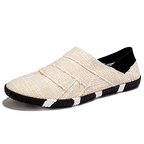 WangKuanHome Beige tendenza 42 traspirante da estate Color Beige Color selvaggia scarpe scarpe uomo uomo Size scarpe di da tela color uomo Scarpe casuale da rBq17r