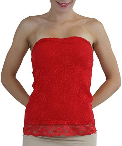 (ToBeInStyle Women's Floral Lace Tube Top with Sheer Lace Back - Red -)