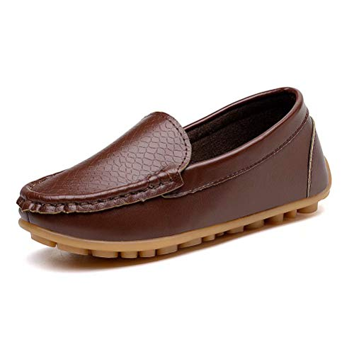 KONHILL Casual Loafers Shoes Boys Girls Plush Moccasin Slip on Slippers Boat-Dress Shoes/Sneaker/Flats, Brown, 28