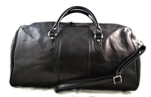 Leather duffle bag genuine leather shoulder bag black mens ladies travel bag gym bag luggage made in Italy weekender duffle overnight bag women's duffle bag ()