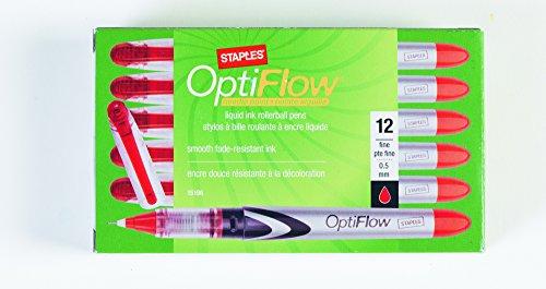 Staples OptiFlow¢ Needle-Tip Rollerball Pens, Fine Point, Red, Dozen (15196)