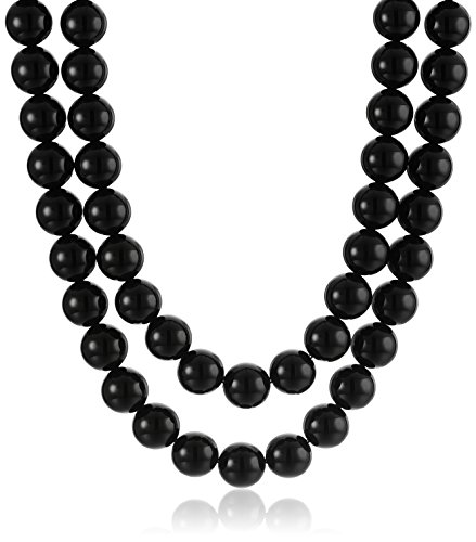Onyx Bead Necklace (Onyx Round Bead Two-Row Sterling Silver Clasp Strand)